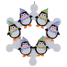 2015 Snowflake Penguins Family of 6 Personalized Ornament