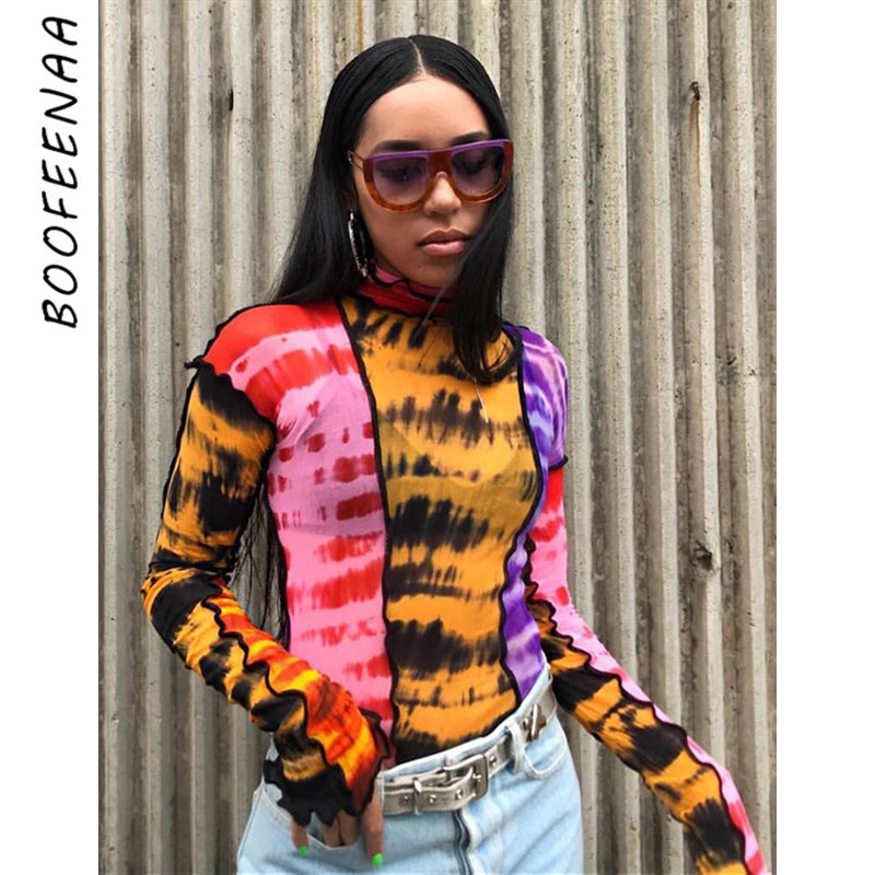 BOOFEENAA Fashion T Shirt Graphic Tees Women Tye Dye Print Patchwork Sheer Mesh High Neck Long Sleeve Shirts Streetwear C94-AZ15