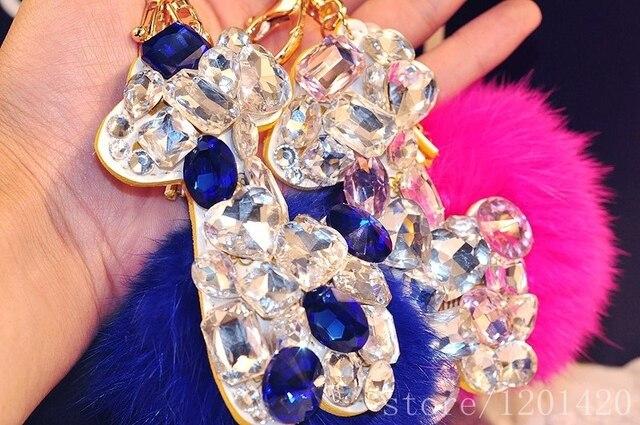 Bling Giraffe handbag charm bag pendant  Big Royal Blue rhinestone Furry pompom fox fur ball key chains purse tote bug charms