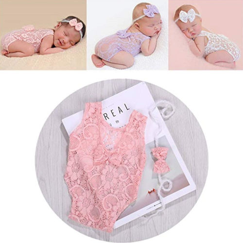 Brand New Newborn Baby Boys Girls Lace Bow Bodysuit Stretch Headband Infant Photography Photo Prop Jumpsuit Cute Clothes