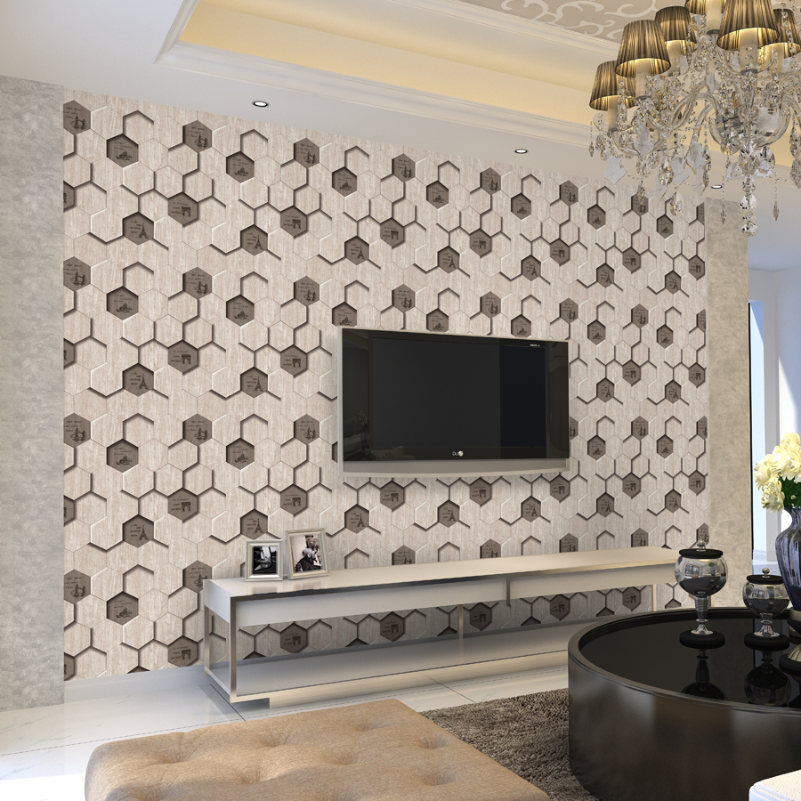 Modern 3d Wood Pattern Wallpaper Tile Shape 6 Sided Wood Texture Wallpaper  Living Room Background English Letters Wallpaper Roll In Wallpapers From  Home ... Part 80