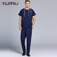 O Neck Men Women Summer Doctor' Clothing Medical Uniforms Hospital Beauty Salon Scrub Set Short sleeved Surgical Clinic Uniforms