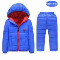 เด็กชุดเด็กผู้หญิงเสื้อผ้าชุดฤดูหนาว 1-7 ปีลงเสื้อ + กางเกงกันน้ำ Snow เสื้อผ้าเด็กชุด + เสื้อกั๊ก 3 ชิ้น