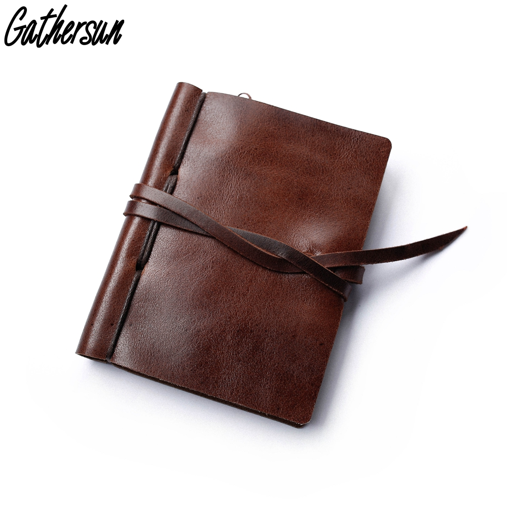 Handmade Leather Small Notebook Customized Gift Vintage Leather Cover Little Diary Refillable Kraft Paper Blank Notebook