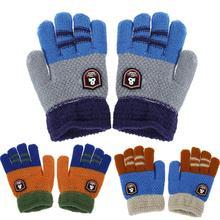 Winter Warm Baby Gloves Kids Knitted Stretch Mittens Boys Cartoon Full Finger Children Ski Kid Patchwork Hand Muff