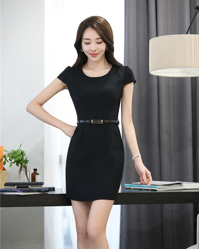 Black dress office - Summer Formal Women Work Dresses Black Ladies Office Uniform Dress Short Sleeve Slim Female Work Wear
