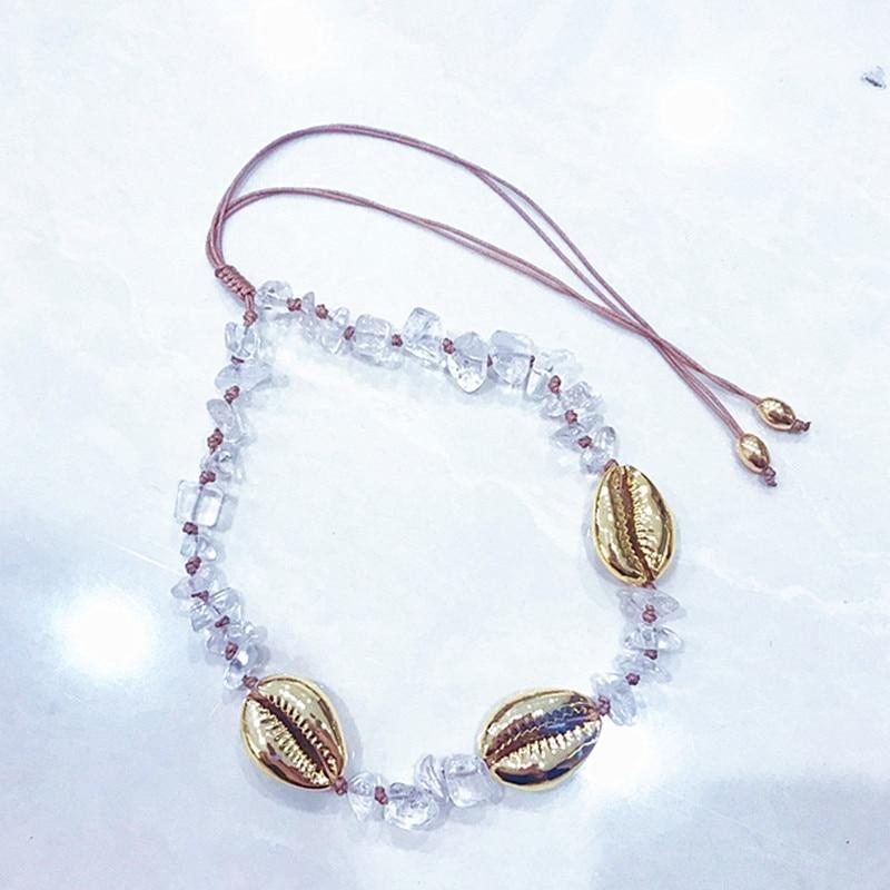Boho big shell necklace collares natural stone crystal quartz NECKLACE collier women erkek kolye choker necklace Baroque gift