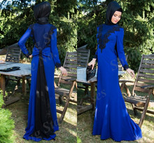 Royal blue mermaid chiffon long dubai kaftan dress to party with black lace appliqued hijab evening dresses muslim party gowns