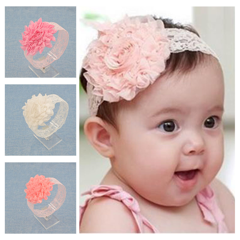 NEW Baby Girls Floral Headband chiffon big Flower lace Hairband Infant Hair Weave Band kids  Accessories Gifts  Stock