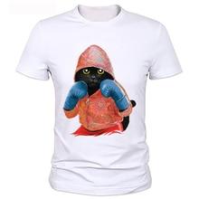 """Мода мужские футболки """"бокс"""" свободного покроя тонкий многоцветный кот печать"""