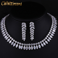 CWWZircons White Gold Color Marquise Cluster Big Bridal Necklaces and Earrings Cubic Zirconia Wedding Jewelry Sets T163