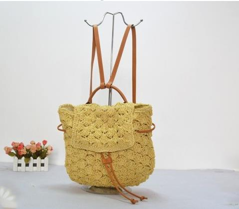 40X26CM school bag Summer straw backpack Students straw bag Tourism outing crochet bag women backpack A2307