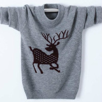 Christmas Sweater with Deer for Girls Boys Pullover Cashmere Jacket as Family Clothes Wool Sweater for Male and Female Tops