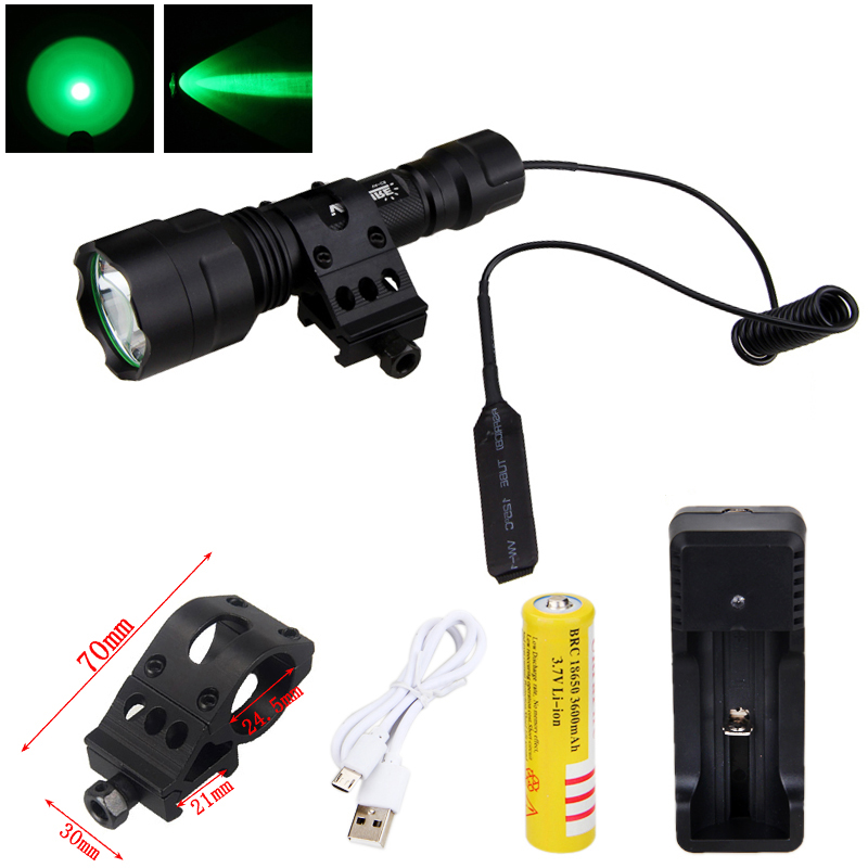 5000LM XM-L T6 LED Flashlight+Battery+Charger+C8 Pressure Switch+Gun Mount Set
