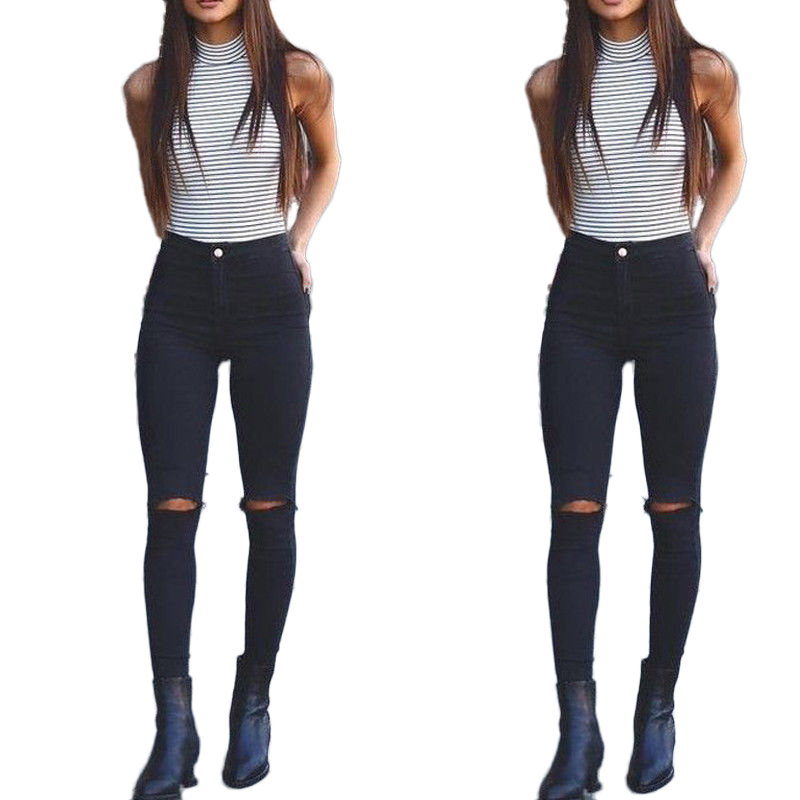 2018 Di Nuovo Modo Sexy Delle Donne Distrutto Strappato Distressed Foro Vita Alta Elastico Skinny Denim Pantaloni Jeans Pantaloni Solidi Vendita Calda Di Prodotti
