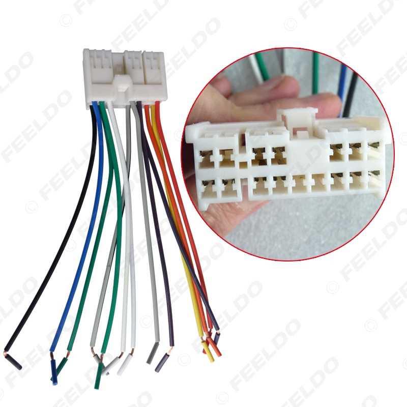 feeldo 1pc car audio stereo wiring harness adapter plug for  hyundai/kia(01~