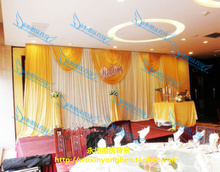 2015 Wedding Backdrops with luxurious Gold Swag for Wedding Decorations 3m 6m wedding stage curtain