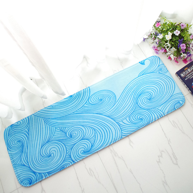 Blue Sea Waves Lines Printed Flannel Thick Study Long Bedroom ...