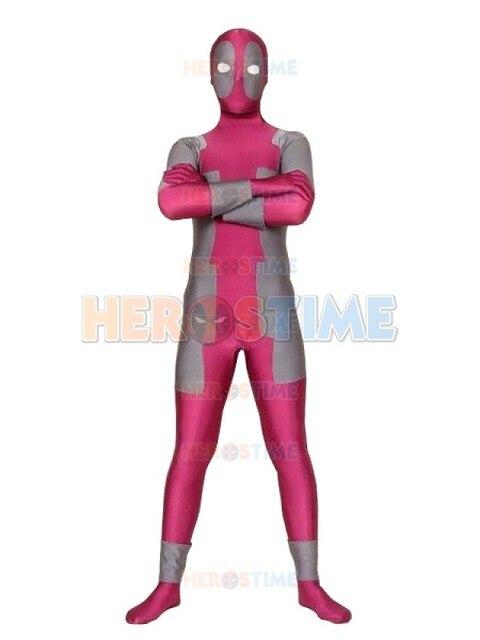 Marvel Comics Fushia Et Gris Spandex Rose Deadpool Costume Zentai