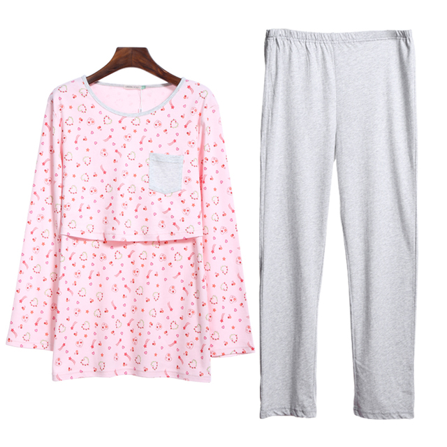 100%cotton Dot maternity sleepwear set maternity pants long sleeve maternity pajamas nursing pajamas nightgown pregnancy pajamas