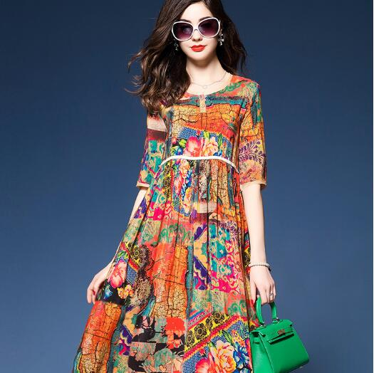 961b4b824c06c 2018 National Style Ladies Half Sleeve Vintage Floral Printed Silk Long  Empire Waist Dress Plus Size 3XL Party Vestidos ZN102