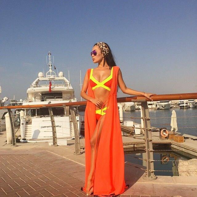 Парео пляжное покрывало Цветочная вышивка бикини накидка купальник женский халат пляжный кардиган купальный костюм накидка - Цвет: Orange No Sleeve