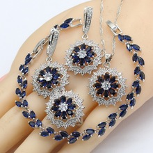 цена на 925 Silver Jewelry Sets Women Dark Blue Semi-precious Necklace Pendant Bracelets Earrings Rings Christmas Gift