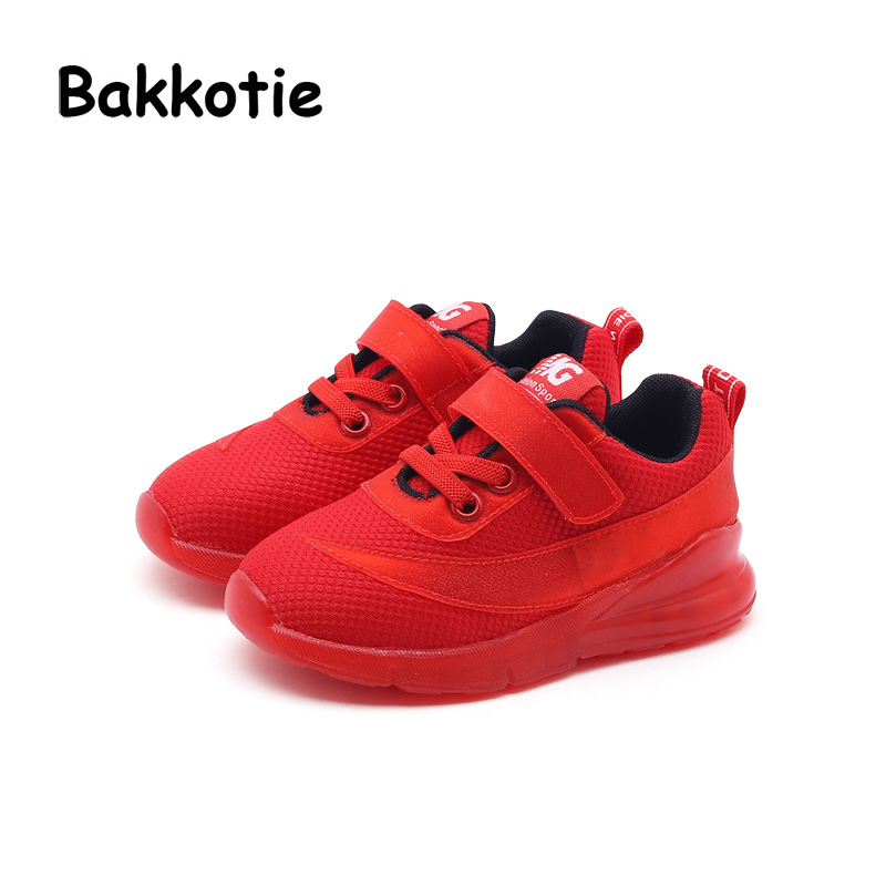 Bakkotie 2018 Spring Fashion New Children Sport LED Light Shoes Baby Boy Brand Casual Sneaker Toddler Mesh Red Girl Trainer bakkotie 2017 new fashion spring autumn baby boy casual sport shoe brand leisure trainer breathable sneaker girl first walkers