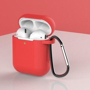 Image 4 - Funda de silicona para auriculares con bluetooth para apple airpods 2, accesorios para airpods 2, funda de silicona 1:1, funda protectora con llavero