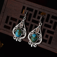 Female Antique Vintage Bohemia Earrings India Fashion Jewelry Silver Blue Moonstone Hollow Earring for Women Gifts new ethnic bohemia dangle drop moonstone earrings for women tibetan silver earring vintage earings fashion jewelry party gifts