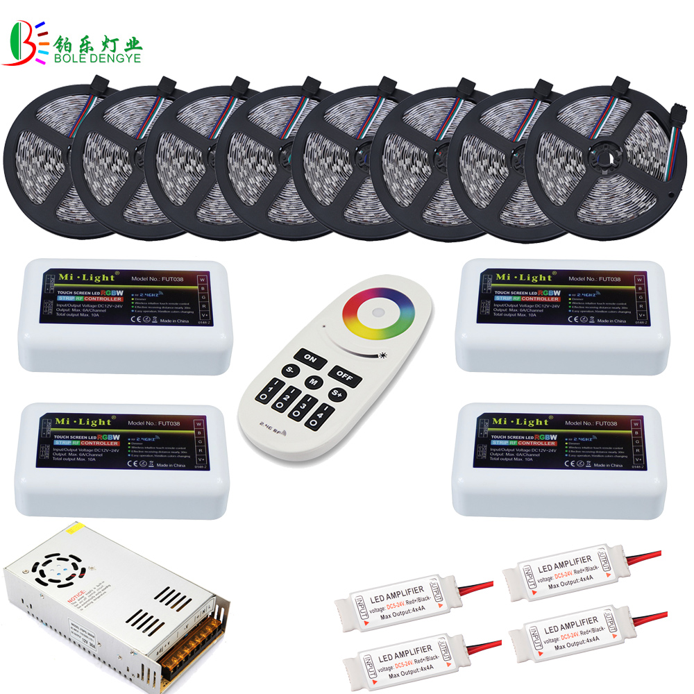 80M <font><b>5050</b></font> RGBW LED Strip No Waterproof RGBWW Ceiling Milight ibox2 4 Zones Separately Control WIFI LED 20M 40M 20A Power Supply image