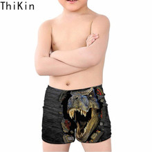 THIKIN Summer Swim Trunks for Kids Boys Cool 3D Dinosaur Printing Children Swimming Suits Beach Bathing Sports Swimwear Shorts