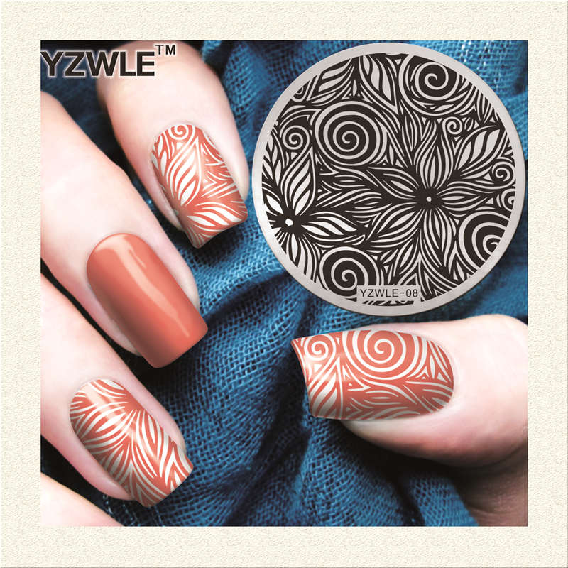 2018 New Arrive!! Hand-painted Flower Design YZWLE Nail Art Stamping Plate Best Quality Stainless Steel Nail Art Image Template
