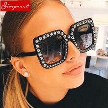 729e8dbb7 Simprect grande quadro quadrado óculos de sol das mulheres 2018 nova marca  de moda designer oversized espelho óculos sol lunette.