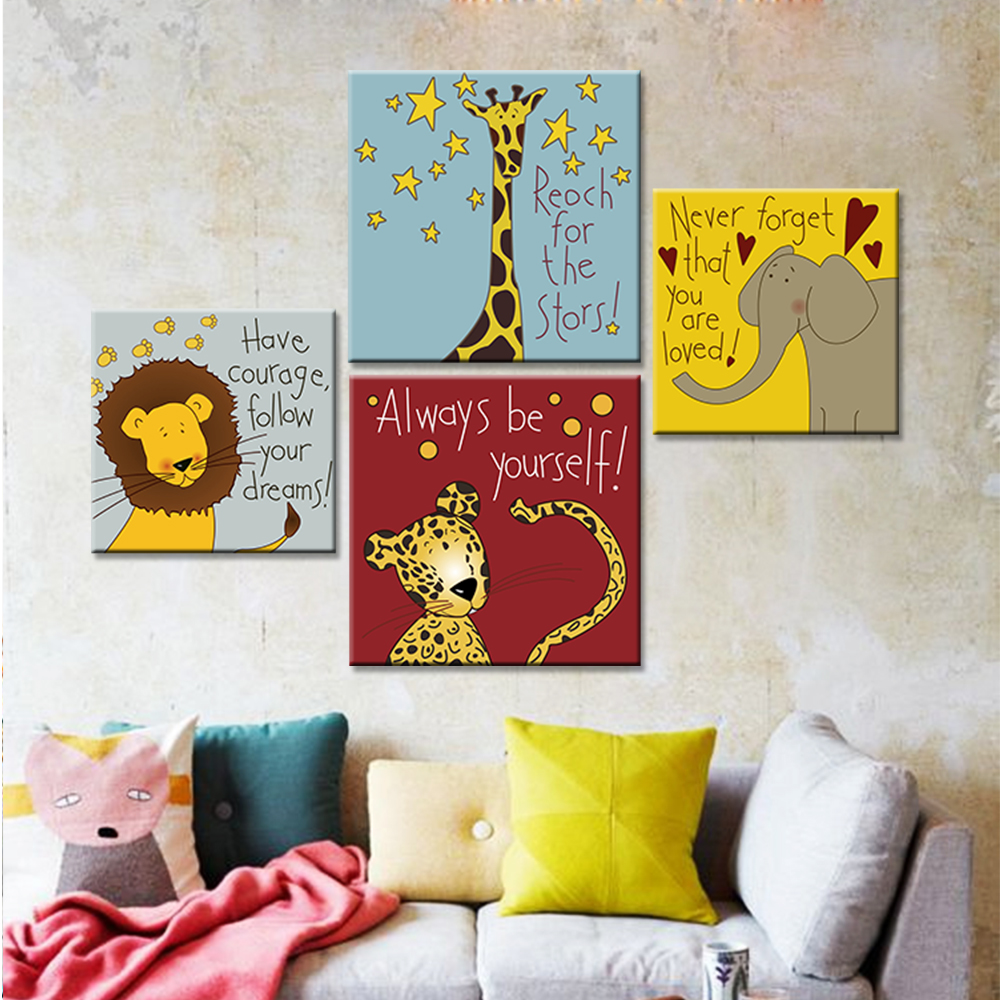 Modern Canvas Art Print Poster Cartoon Animal Painting for