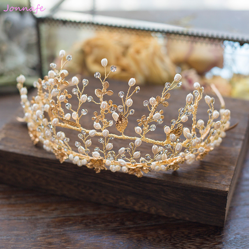 Jonnafe Charming Gold Leaf Wedding Crown Forehead Tiara Pearls Bridal Hair Jewelry Accessories Headband Women Prom Headpiece цена 2017