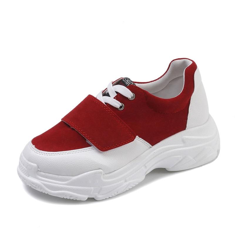 Tendance Dentelle Correspondant Couleur À Fond 2018 Nouveau rouge Chaussures Coréenne kaki Printemps Épais Mode Casual Femmes Noir Simples Simple vRqgv8