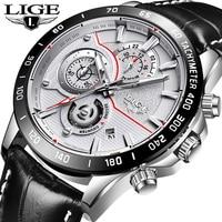 LIGE Watch Men Fashion Casual Sport Quartz Leather Clock Mens Watches Top Brand Luxury Waterproof Wrist