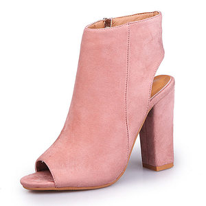 Image 5 - Summer Women Sexy Pumps Suede High Heels Sandals Slingback Zip Ankle Boots woman heel shoes Zapatos Mujer Open Toe Square heel