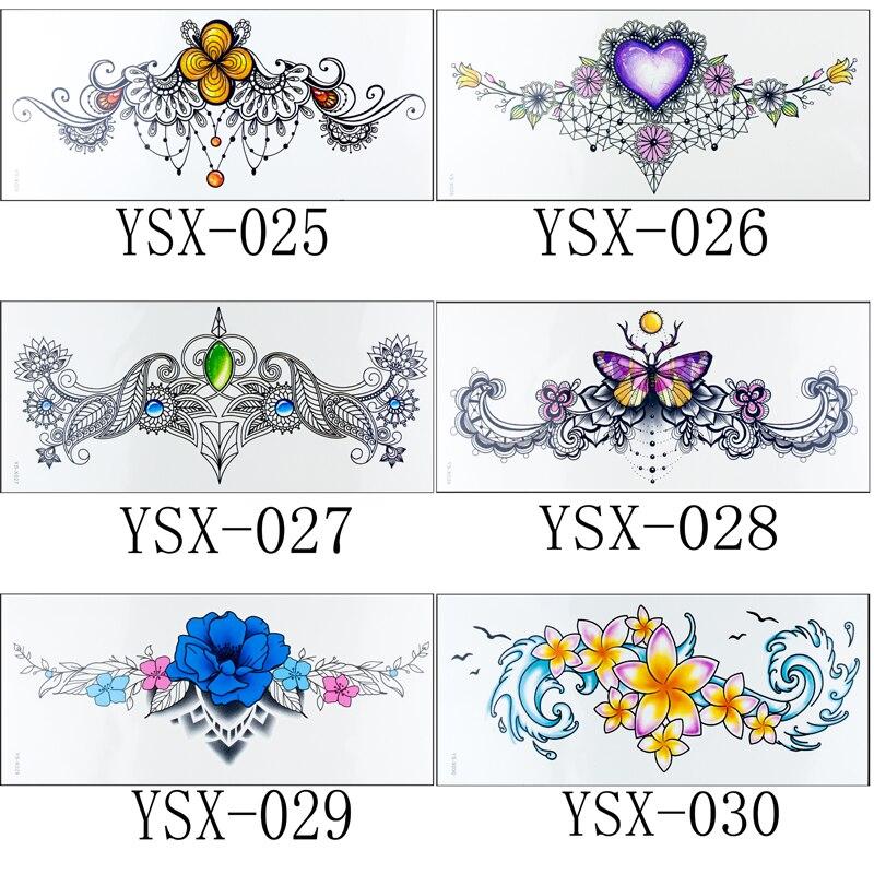 Henna Tattoo Designs Under Breast: 1pc New Under Breast Sternum Tattoo 24styles Flower Arm