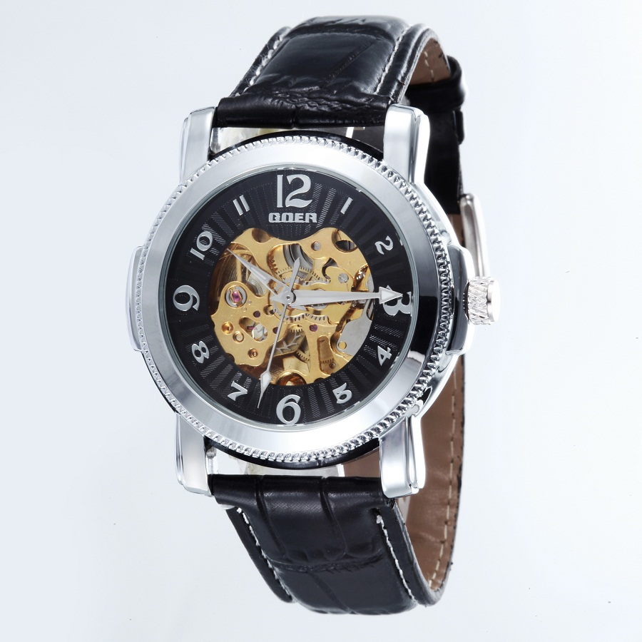 GOER brand Fashion leather men s watches male movement Wrist watch Luminous digital mechanical Automatic waterproof