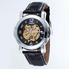 GOER марка Моды кожа мужские часы мужской Наручные часы движение Световой цифровой механический Автоматический водонепроницаемый Скелет