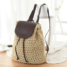 Summer Womens Backpack Crochet Paper Rope Woven Straw Bag With Drawstring Fashion Popular