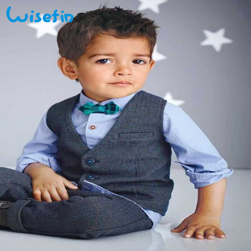 Formal Boys Suits High Quality Gentleman Suit For Boy 4Pcs Shirt+vest+Bow Tie+Pants 2-7Years Kids Clothing Discount Promotion