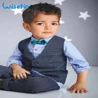 Formalne chłopcy garnitury wysokiej jakości Gentleman garnitur dla chłopca 4 sztuk koszula + kamizelka + łuk krawat + spodnie 2-7Years dla dzieci odzież dla dzieci rabat promocja