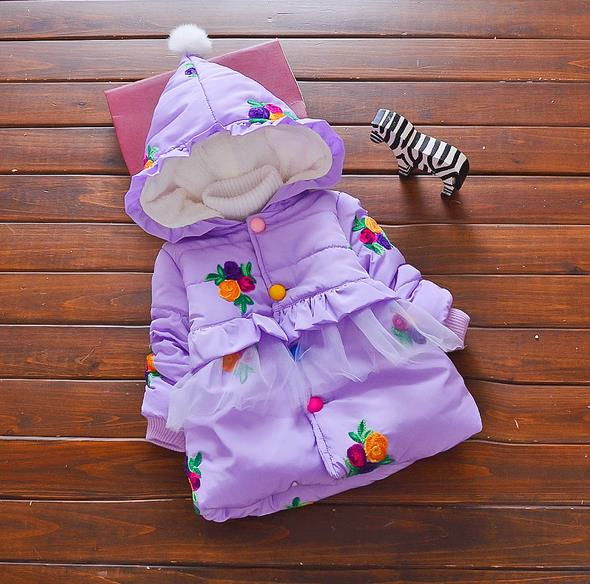 Coat Winter Snow-Wear Infant Baby 0-24month AS008 Flower Printing Girl's High-Quality