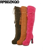 Thick Thigh High Boots For Plus Size Women Suede Shoes 10 43 Knee Lace Up Extreme
