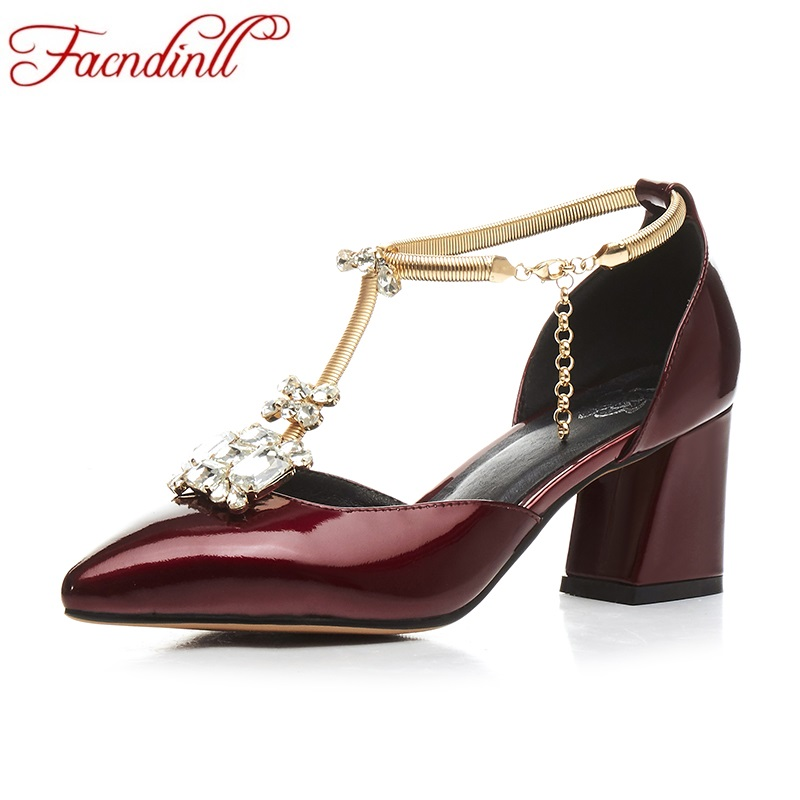FACNDINLL women pumps fashion high heel pointed toe shoes woman genuine leather big size 34-43 wine red silver women party shoes plus big size 34 52 shoes woman 2017 new arrival wedding ladies high heel fashion sweet dress pointed toe women pumps e 177