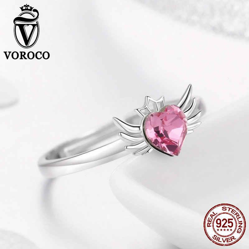 VOROCO วินเทจใหม่ 2019 แหวนเงิน 925 หัวใจสีชมพูปรับแหวน Cubic Zircon เงินสเตอร์ลิงเครื่องประดับเงินผู้หญิงแหวน BKR472