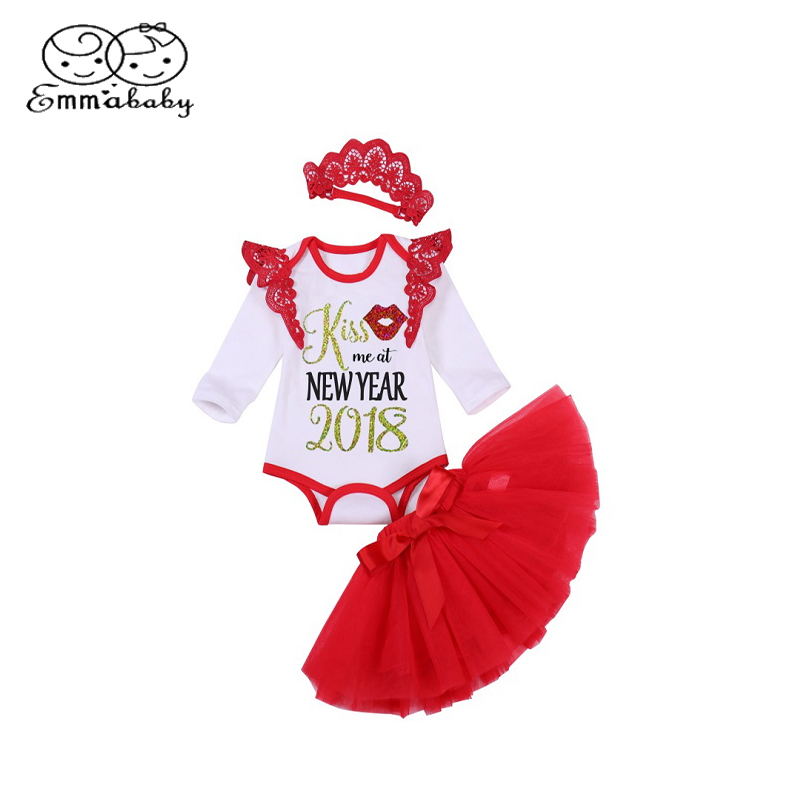 Emmababy 2018 New year Kids Clothing Set Baby Girl Ruffled Lace Romper Tops T-Shirt+Skirts/Shorts/Pants Outfits